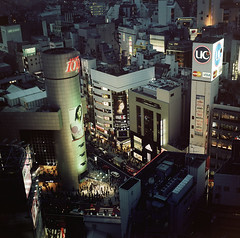 Shibuya ( ken ) Tags: street city building 120 6x6 film sign japan night tokyo minolta kodak shibuya    109  autocord ektacolorpro160