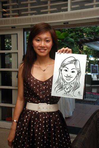 caricature live sketching for David & Christine wedding dinner - 2