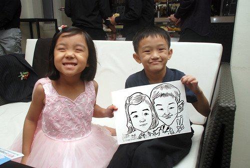 caricature live sketching for David & Christine wedding dinner - 14