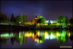 Fort Langley At Night (Clayton Perry Photoworks) Tags: summer canada night vancouver canon reflections lights bc explore fraserriver hdr fortlangley davidsuzukifoundation mcmillanisland hdrspotting