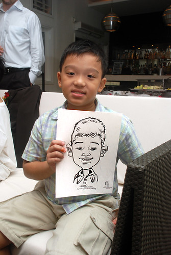 caricature live sketching for David & Christine wedding dinner - 18