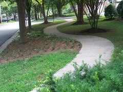 Curvilinear sidewalk on Halpine Road in Twinbrook/Rockville