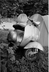 Olympus Trip 35 Amiens Scooters Ilford FP4 Campsite 3 (Miles Davis (Smiley)) Tags: france film caf 35mm vespa scooter ilfordfp4 beetsugarscooterrally