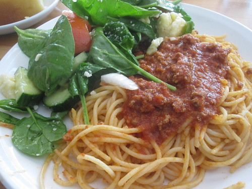 Spaghetti with meat sauce, salad, lemon pound cake from the bistro - $6