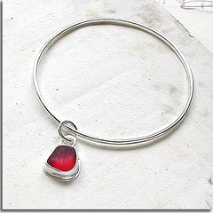 Rare Red Seaglass Bangle