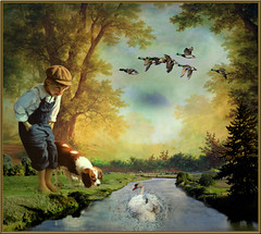 The dog, the boy and the swan (jaci XIII) Tags: boy dog tree co water gua canal geese swan rvore menino channel cisne gansos markarian