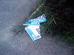 First shredded campaign signs of the season, Worcester