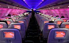 Flying America's Virgin (A Sutanto) Tags: lighting pink night lights fly flying tv cabin mood view purple seat violet screen class monitor aisle virgin seats airbus inside monitors economy airliner a320 vx ife virginamerica
