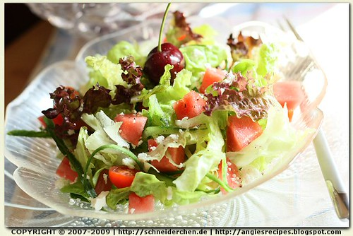 Watermelon Leaf Lettuce Salad w/ Light Feta @ Angie's Kitchen