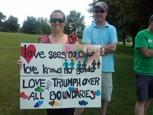Pro-equality supporter in Des Moines Iowa