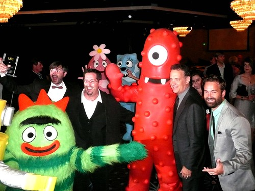 creators and cast members of 'Yo Gabba Gabba' with Tom Hanks at the 2010 Television Critics Association awards