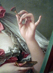 François Boucher, Madame de Pompadour (detail of hand), oil on canvas, 1750