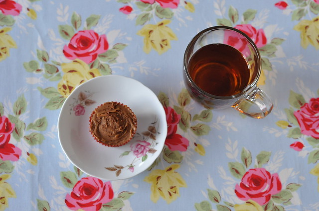 Coffee cupcake with tea