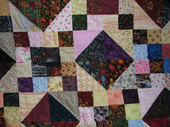 detail of quilting after 17 blocks