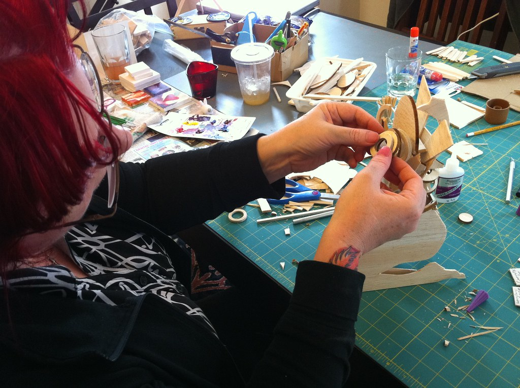 Balsa Betty being built at the 2010 Tiny Art Party