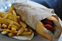 Fes (Kat n Kim) Tags: food lunch sausage chips morocco fez oldcity fes merguez walledcity