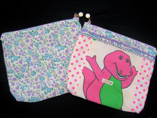 Vintage fabric Barney pouch bags are from Curly Collection