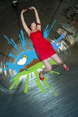 Happy up here (unocortoybonico) Tags: red happy jump jumping rojo dress tunnel salto felicidad tunel vector vestido saltar