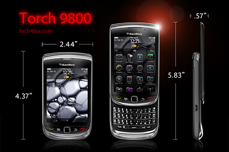 BlackBerry Torch 9800 with 6.0 Operating System.