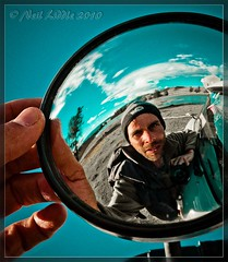 The wing mirror (NeilsPhotography) Tags: blue portrait sky selfportrait west me hat mirror interesting aqua colorfull acid explore mongolia coluds 2010 wingmirror colourfull mywinners rtwoverland neilsphotography