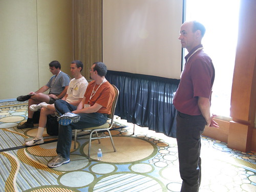 Casey Schaufler leading the security API panel discussion