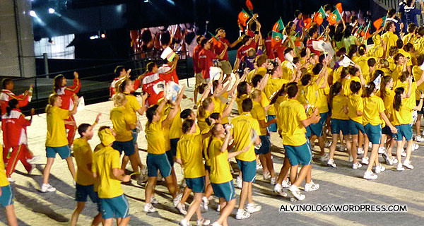 The Australian athletes making their way on stage with athletes from other countries