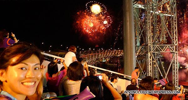 A few short bursts of fireworks after the flag ceremony