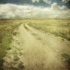 plain way (jssteak) Tags: road sky clouds canon square afternoon dry dirt dirtroad grassland plain hdr textured pawneenationalgrasslands colorad texturesquared t1i magiayfotografia