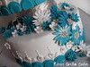 Teal and White Daisy Wedding Cake (Kara's Custom Cakes) Tags: flowers blue wedding white sparkles glitter silver beads teal weddingcake diamond daisy teardrop gumpasteflowers princesscake dragees fondantflowers fantasyflower fondantdaisy gumpastedaisy princessthemedwedding