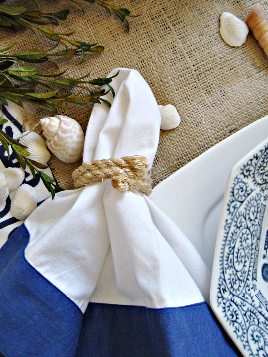 rope napkin rings+beach table decor ideas+diy inspiration