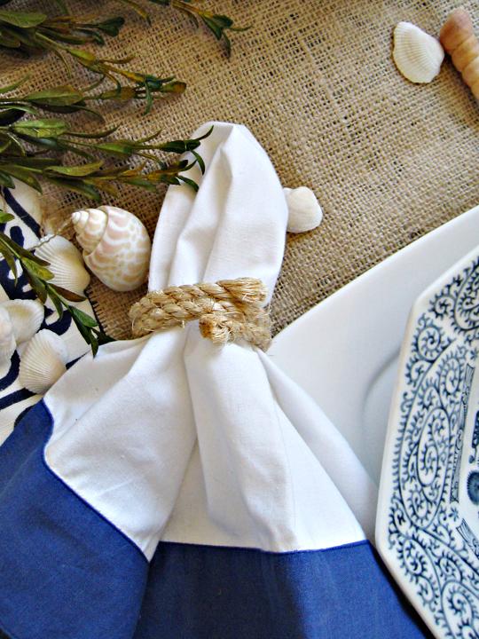 rope napkin rings+beach table decor ideas+diy inspiration