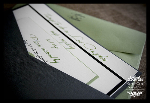 Custom Gray & Green Wedding Invitations with Flowers in Long Beach California
