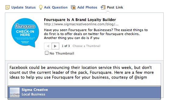 Tagging a business on Facebook