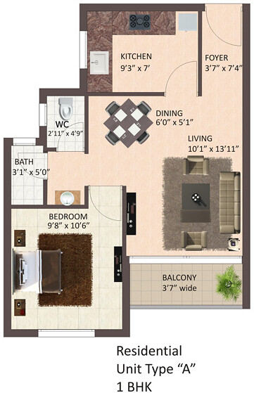Tata La Montana Talegaon: 1 BHK Flat, A Type, 614 sq.ft. Saleable Area