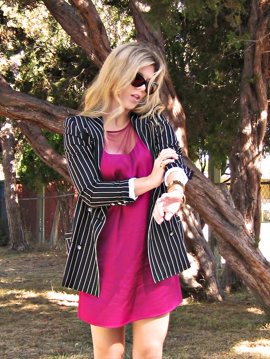 black and white and fuchsia outfit+dress and blazer+striped ungaro, shift dress