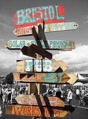 Bristol Harbour Festival (SarahMartin) Tags: wood sign festival river bristol boat wooden riverside harbour signpost harbourside