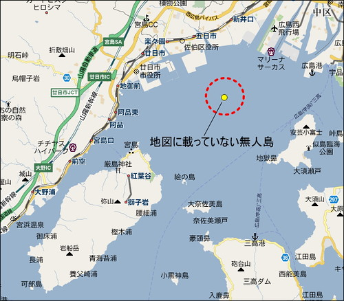 津久根島 (通称 アマンジャク)地図