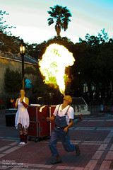 Fire eater in action at Mallory Square (pbelskamp) Tags: florida keywest floridakeys fireeater mallorysquare eatingfire thekeys spittingfire