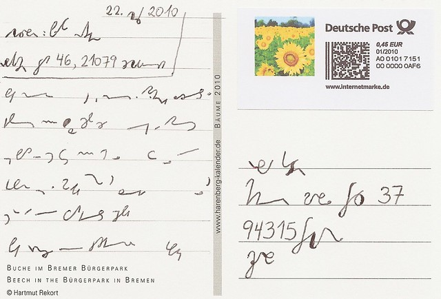 Postcard addressed in shorthand