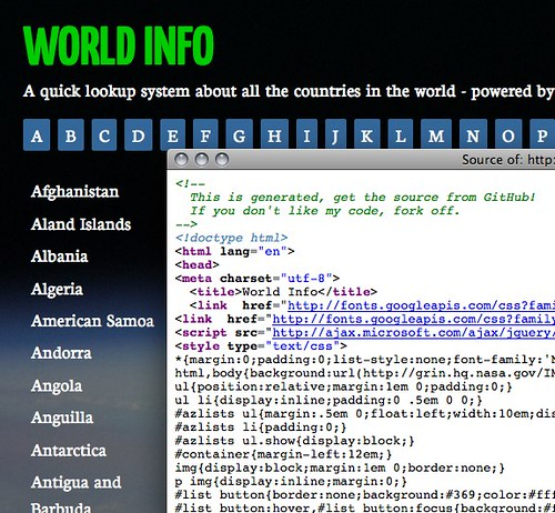 World info source code message by codepo8