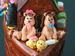Baby Lions and birds (Miss Apple's Sweets) Tags: baby bird cake shower lion ark noahs topper fondant
