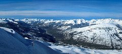Feeling Blue? (On the mountain at dawn) Tags: old blue vacation sky holiday snow ski france mountains alpes landscape panoramic snowboard