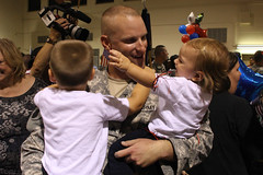 Soldiers from the Virginia National Guard's Headquarters Company, 1st Battalion, 116th Infantry return to Virginia