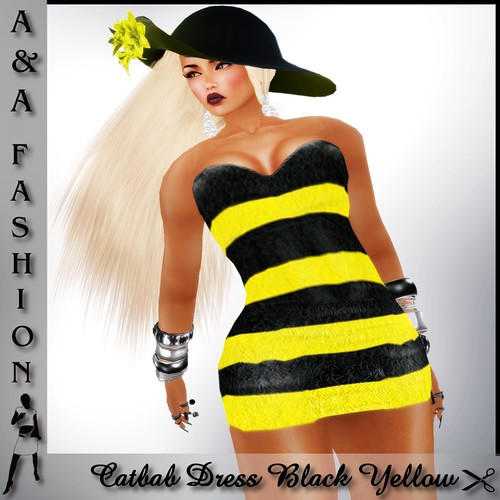 A&A Fashion Catbab Dress Black Yellow