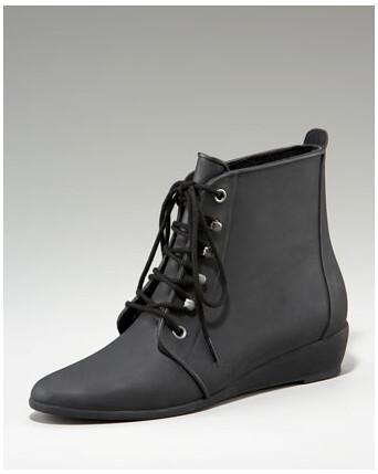 Loeffler Randall - Demi-Wedge Rubber Rain Bootie - Neiman Marcus :  rain boots flats shoes boots