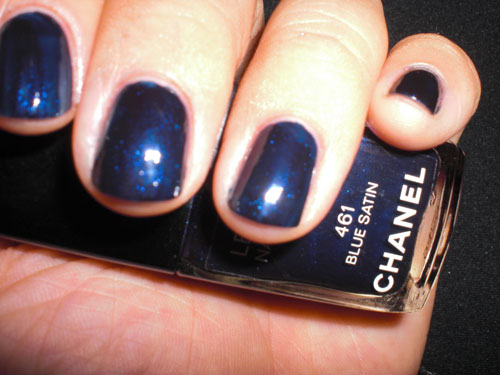 Chanel Blue Satin close-up