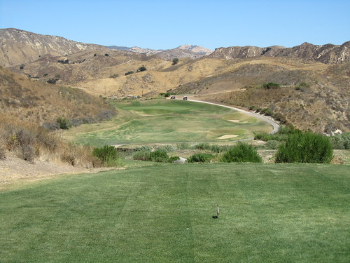 Third tee shot at Lost Canyons Golf Course