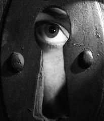 365/240 Eye Spy (J.Renee.Photo) Tags: bw eye look watch hide spy peep keyhole 3652010 365the2010edition 2
