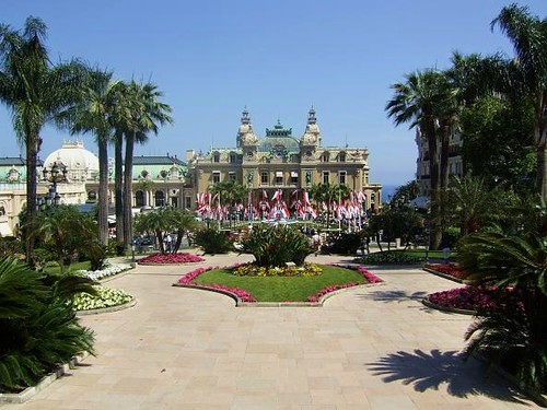 view of park opposite casino in Monaco