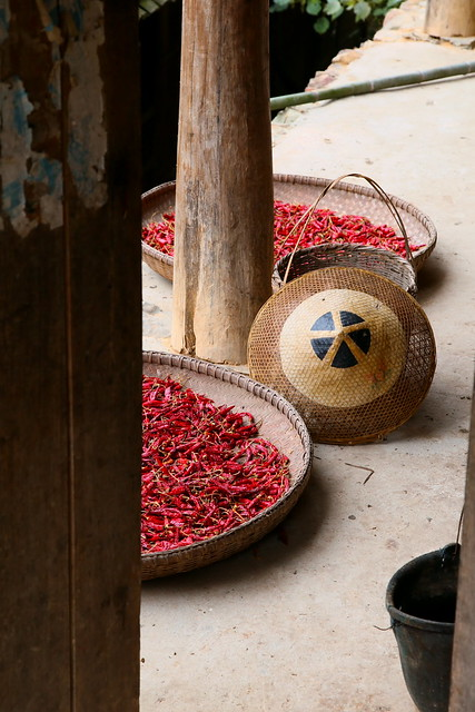 Chili peppers and a hat, Guangxi, China